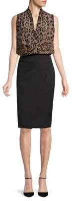 Roberto Cavalli Animal-Print Fleece Blouson Dress