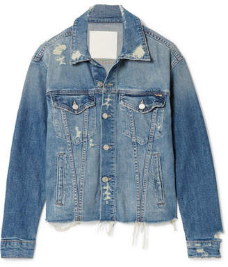 Mother The Cut Drifter Distressed Denim Jacket - Mid denim