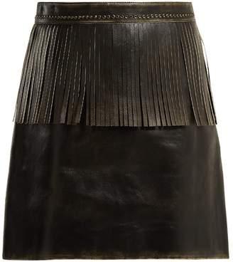 Miu Miu Fringe-trimmed leather mini skirt