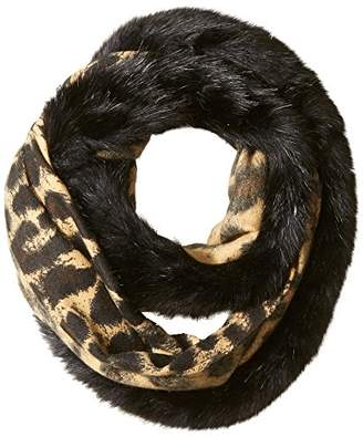 Orchid Row Women's Leopard Infinity Scarf with Faux Fur Accent O/S