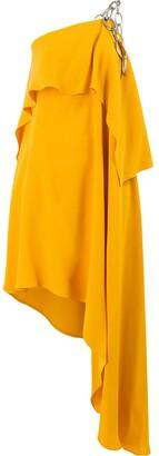 Monse chain one-shoulder draped dress