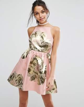 Asos DESIGN Pinny Jacquard Mini Prom Dress