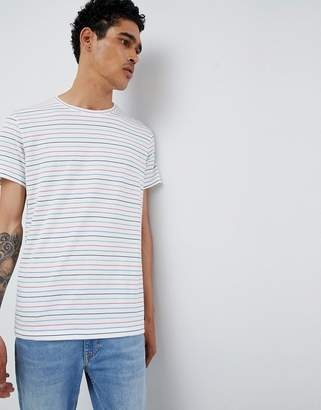 Esprit T-Shirt Multi Color Fine Stripe In Cream