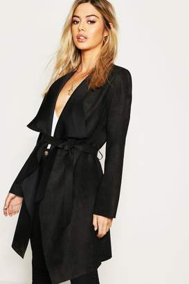 boohoo Petite Suedette Waterfall Duster Coat