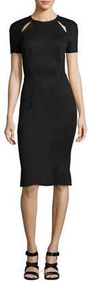Zac Posen Short-Sleeve Cutout-Shoulder Sheath Dress, Black