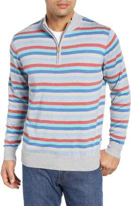 Peter Millar British Grey Classic Fit Stripe Quarter Zip Pullover