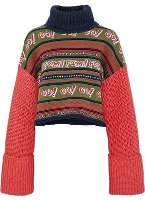 Opening Ceremony Sequined Intarsia And Cable-Knit Wool-Blend Turtleneck Sweater