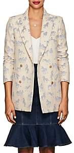 BLAZÉ MILANO Women's Everyday Zebra-Jacquard Double-Breasted Blazer - White, Blue