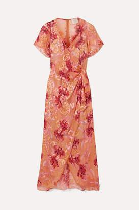 Anna Sui Lotus Pod Devoré Silk-blend Chiffon Midi Dress - Pink