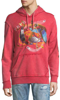 PRPS Feather-Embroidered Distressed Logo Hoodie