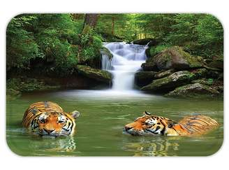 Pool' VROSELV Custom Door MatTiger Safari Decor Siberian Tigerin Water Waterfall Pool Woodland Swimming Asian Natural Theme Image Tiger Green Peru White
