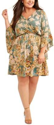 Romantic Gypsy Women's Plus Size Floral Print Dramatic Bell Sleeve Wrap Dress
