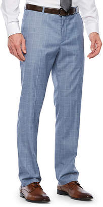 Jf J.Ferrar Slate Blue Windowpane Classic Fit Stretch Suit Pants - Big and Tall