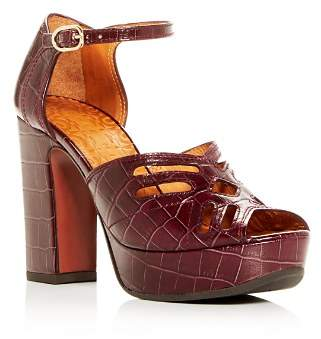 Chie Mihara Women's Kenya Croc-Embossed Leather High-Heel Platform Sandals