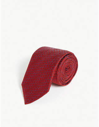 HUGO Hexagon print silk-blend tie