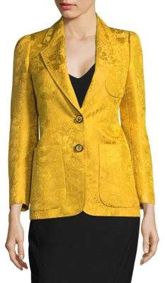 Roberto Cavalli Notch Lapel Wool and Silk Blazer