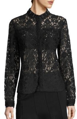 Elie Tahari Avon All Over Lace Top $398 thestylecure.com