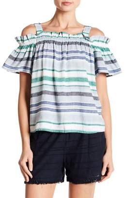 Joe Fresh Cold Shoulder Colorblock Stripe Blouse