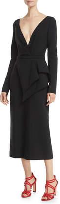 Oscar de la Renta Deep-V Long-Sleeve Peplum-Waist Stretch-Wool Midi Dress