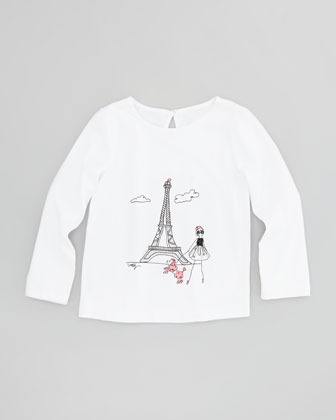 Milly Minis Eiffel-Tower Graphic Long-Sleeve Tee, Sizes 2-6