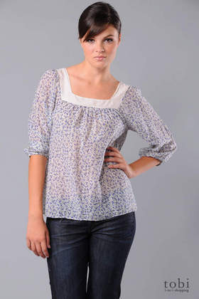 Splendid Forget-Me-Not Square Neck Top