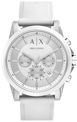 Ax Armani Exchange Chronograph Silicone Strap Watch, 44Mm $120 thestylecure.com
