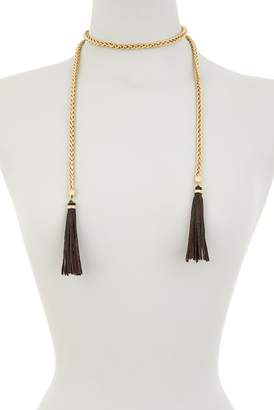 Lucky Brand Tassel & Wheat Chain Lariat Necklace