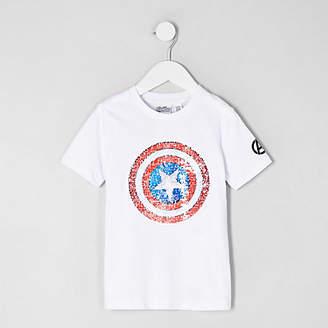 River Island Mini boys white Avengers reverse T-shirt