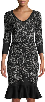 Neiman Marcus Floral-Jacquard Flounce-Hem Sweater Dress