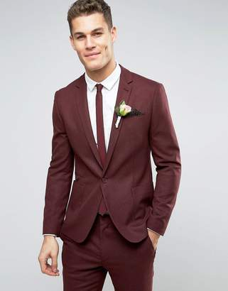ASOS WEDDING Skinny Suit Jacket In Burgundy Micro Texture $106 thestylecure.com