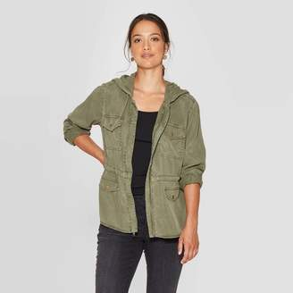 Knox Rose™ Women's Long Sleeve Drapey Jacket With Hood and Front Pockets - Knox RoseTM Green