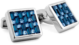 Tateossian Silver Interlock Swarovski Crystal Cuff Links