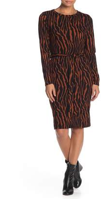 Ash MAX & Ribbed Knit Tiger Print Midi Dress