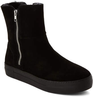 J/Slides Black Allie Suede Dual-Zip Boots