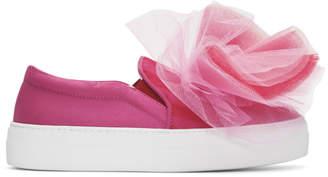Joshua Sanders Pink Tulle Slip-On Sneakers
