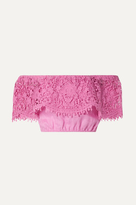 Miguelina Dakota Cropped Off-the-shoulder Guipure Lace-trimmed Linen Top - Pink