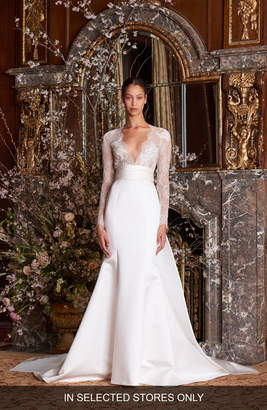 Monique Lhuillier Albertine Long Sleeve Lace Bodice Wedding Gown