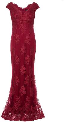 Quiz Berry Lace Bardot Fishtail Maxi Dress