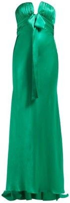 Alessandra Rich Ruched Strapless Silk Charmeuse Gown - Womens - Green