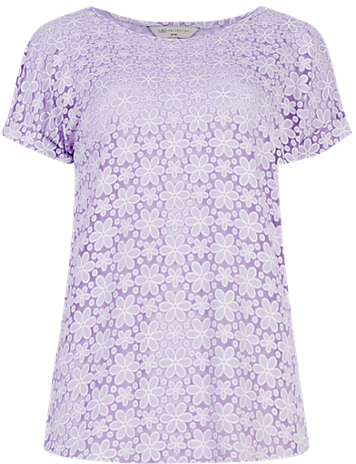 M&s Collection PETITE Floral Burnout T-Shirt