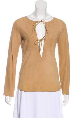 Theory Leather Long Sleeve Blouse