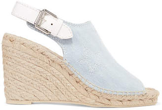 Stella McCartney Embroidered Denim Espadrille Wedge Sandals - Light denim