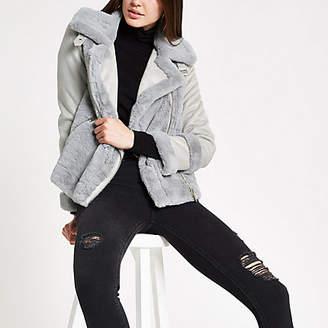 River Island Light grey faux fur trim jacket
