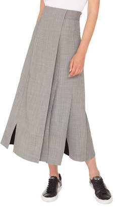 Akris Wrapped Fil-a-Fil Midi Skirt