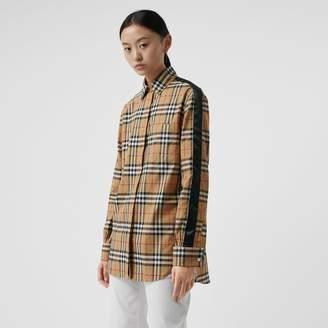 Burberry Satin Stripe Vintage Check Shirt , Size: 16, Yellow