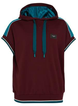 Dolce & Gabbana Satin Trimmed Short Sleeved Hooded Sweatshirt - Mens - Burgundy