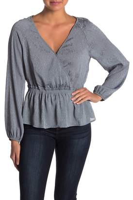 June & Hudson Long Sleeve Faux Wrap Top