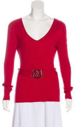 Adrienne Vittadini Plunging Neck Long Sleeve Top