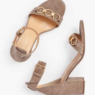 Talbots Beatrice Chain Link Block Heel Sandals - Suede