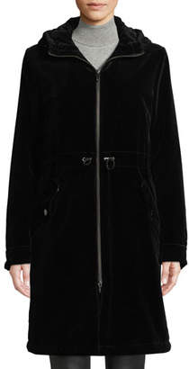 Jane Post Long Velvet Parka Coat w/ Hood